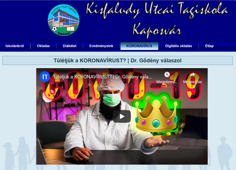Doktor Gődényt már a Facebook is letiltotta, a kaposvári Kisfaludy iskola honlapjának főoldalán mégis ő osztja az észt a koronavírusról